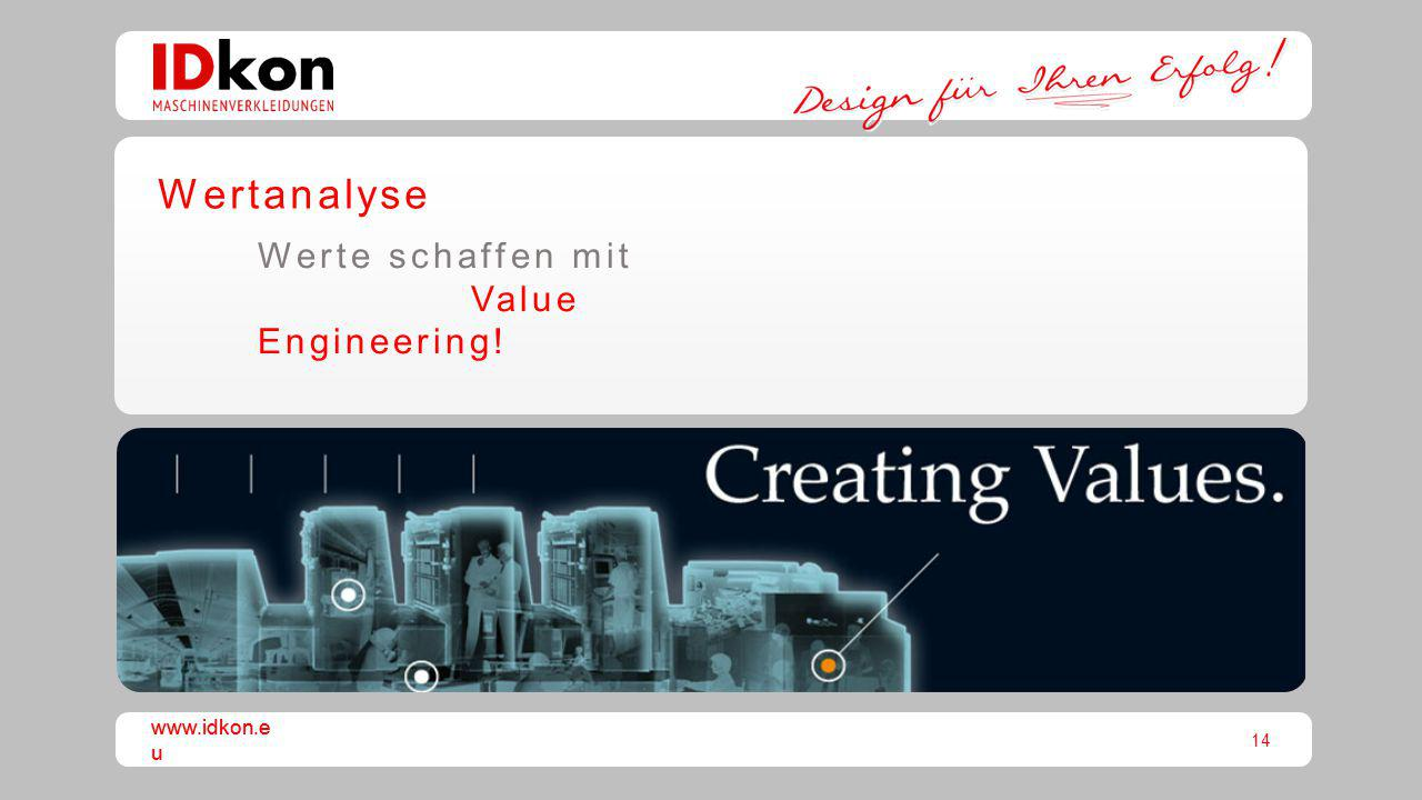 Wertanalyse Werte schaffen mit Value Engineering! www.idkon.eu