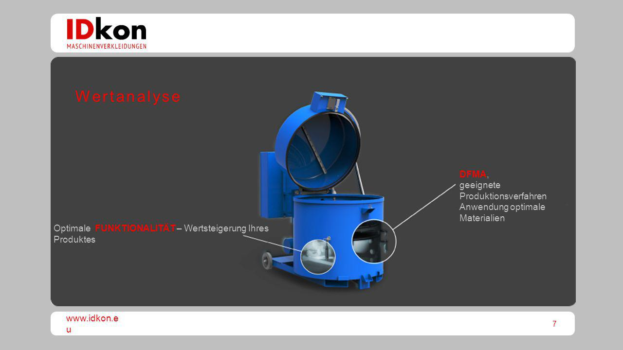 Wertanalyse DFMA, geeignete Produktionsverfahren Anwendung optimale Materialien.