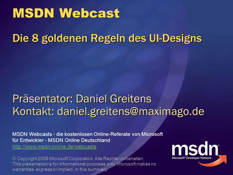 MSDN Webcast Die 8 goldenen Regeln des UI-Designs