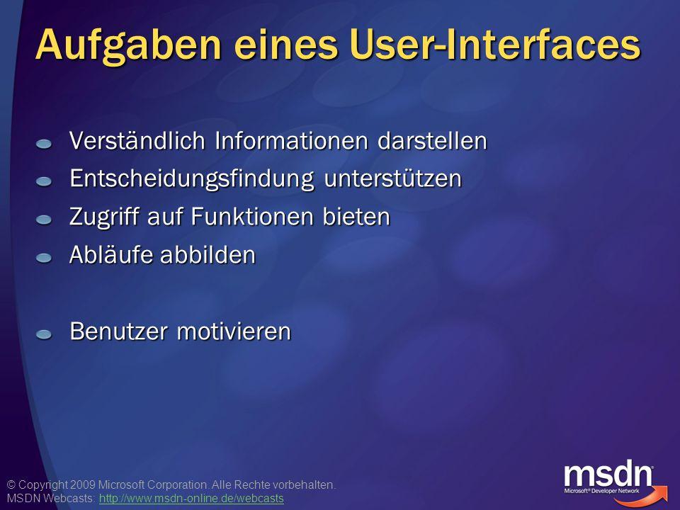 Aufgaben eines User-Interfaces