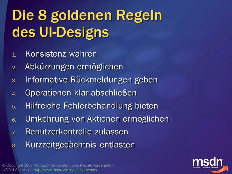 Die 8 goldenen Regeln des UI-Designs