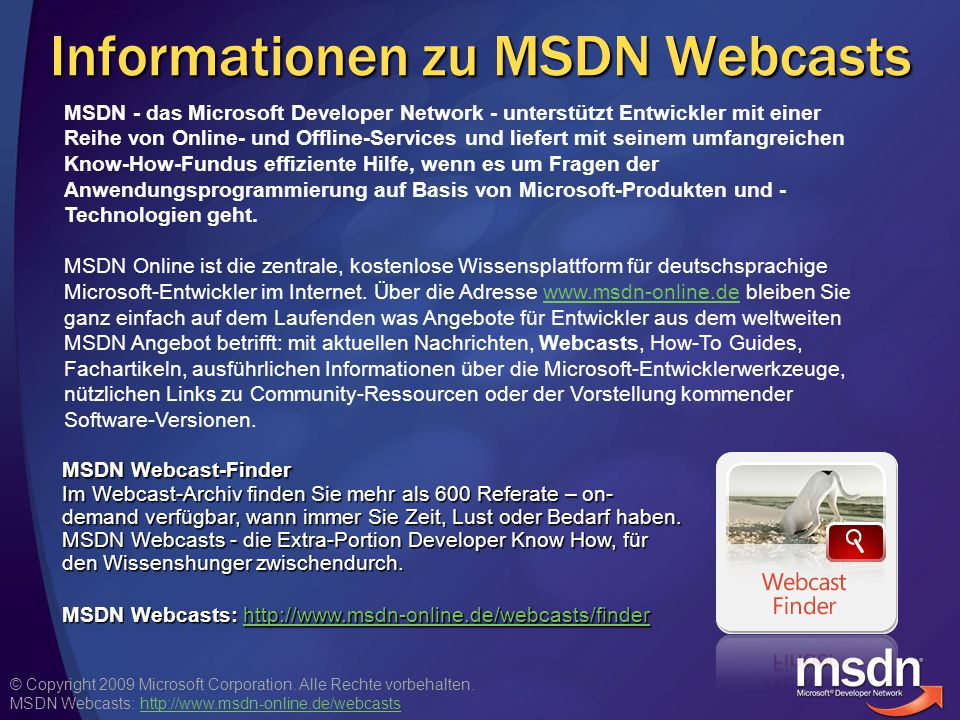 Informationen zu MSDN Webcasts