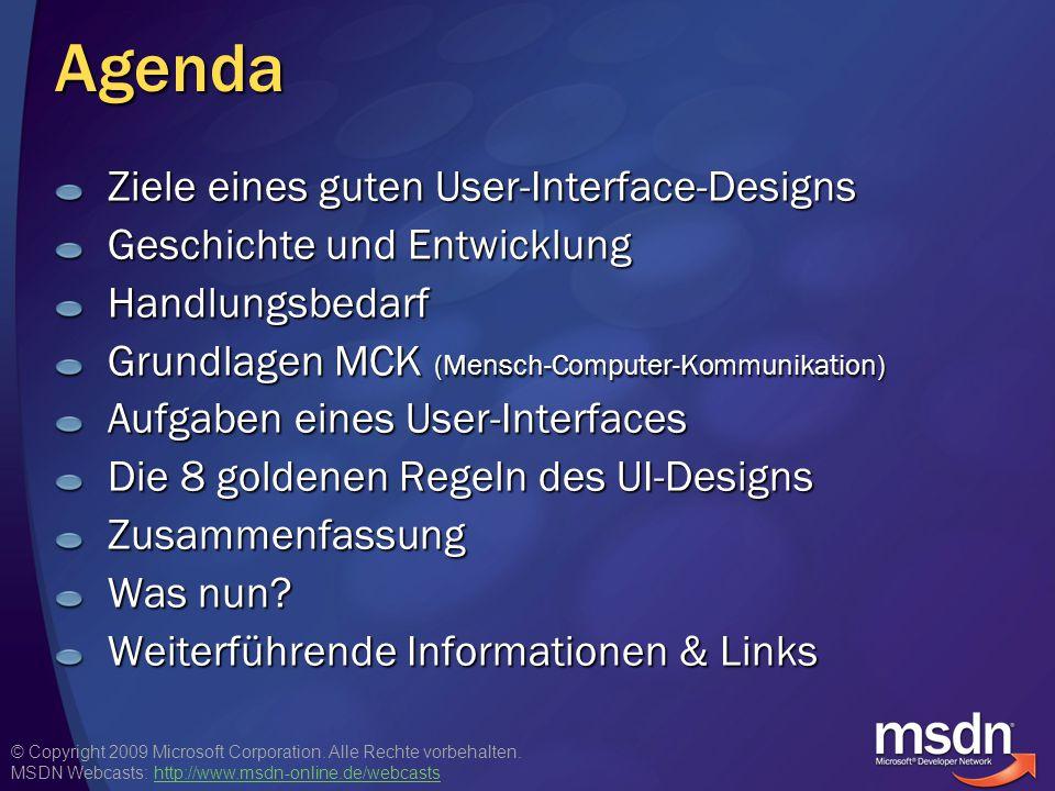 Agenda Ziele eines guten User-Interface-Designs