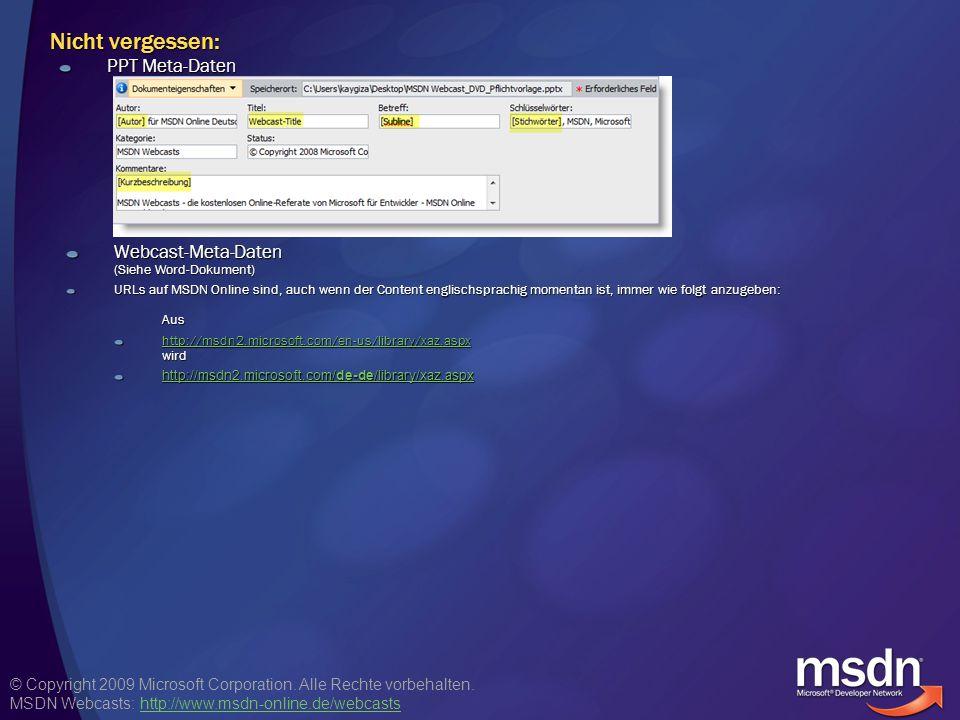 Nicht vergessen: PPT Meta-Daten