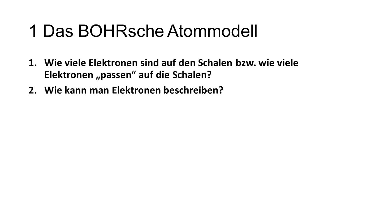 1 Das BOHRsche Atommodell