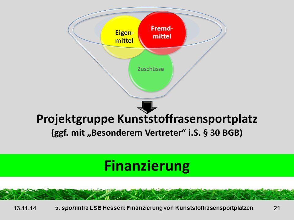 Finanzierung Projektgruppe Kunststoffrasensportplatz