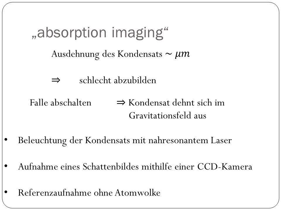 """absorption imaging Ausdehnung des Kondensats ~ 𝜇𝑚"
