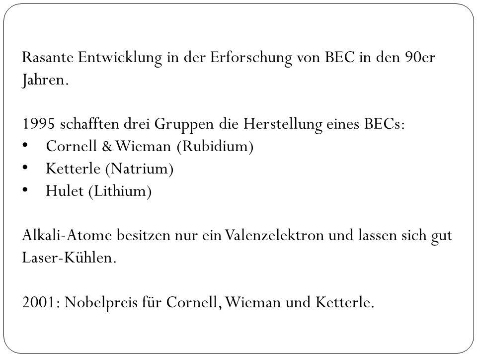 Rasante Entwicklung in der Erforschung von BEC in den 90er Jahren.