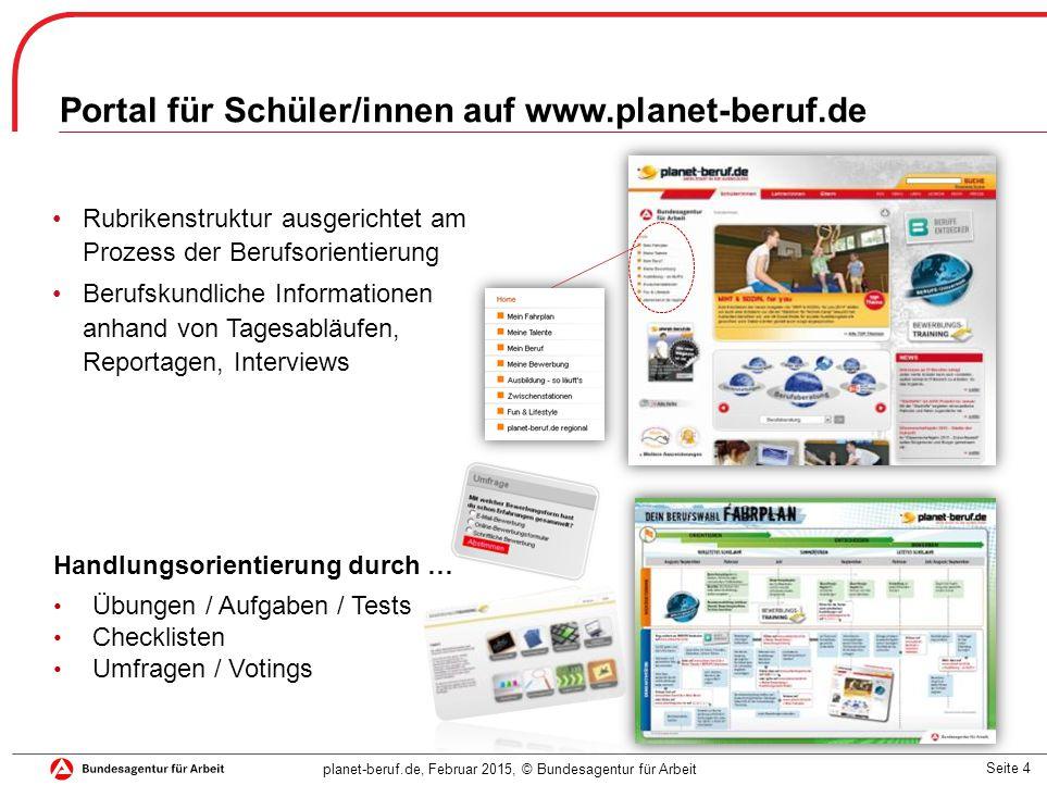 Portal für Schüler/innen auf www.planet-beruf.de