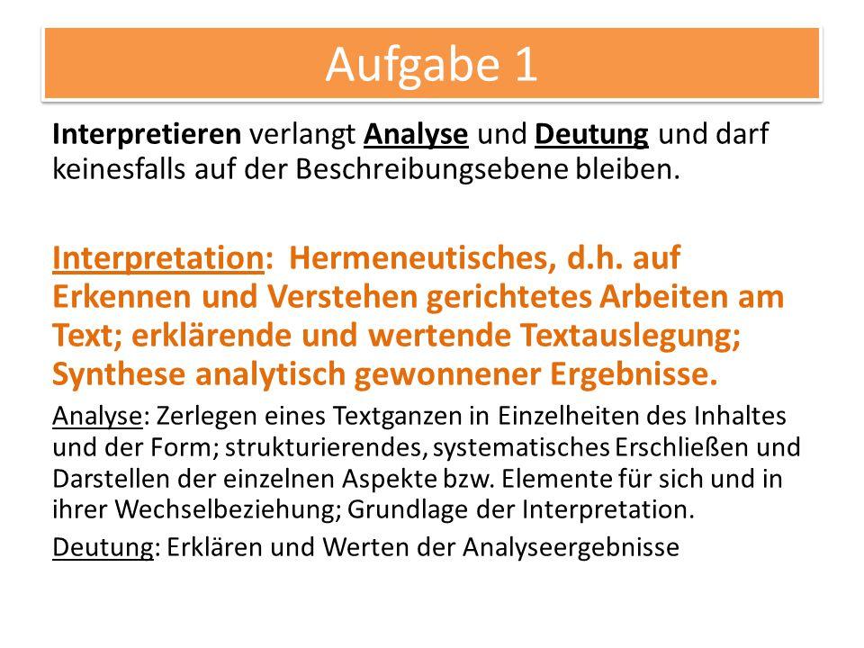 Werk im Kontext 03.11.2014. Aufgabe 1. Interpretieren verlangt Analyse und Deutung und darf keinesfalls auf der Beschreibungsebene bleiben.