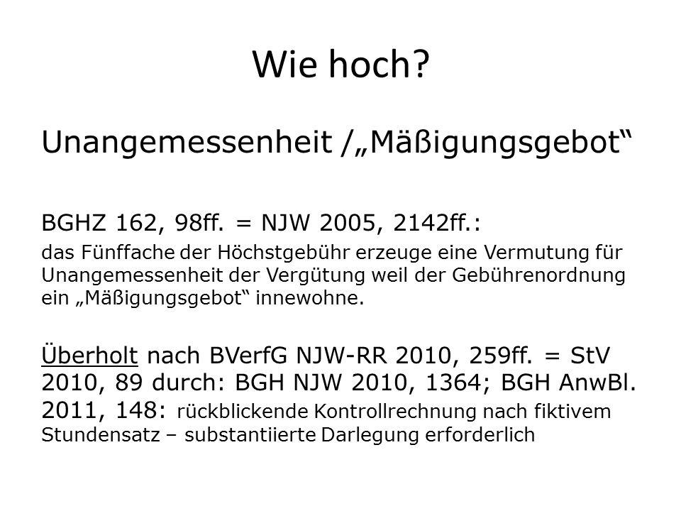 """Wie hoch Unangemessenheit /""""Mäßigungsgebot"""