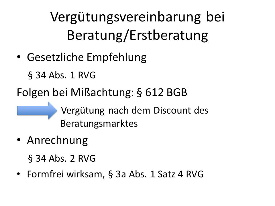 Vergütungsvereinbarung bei Beratung/Erstberatung