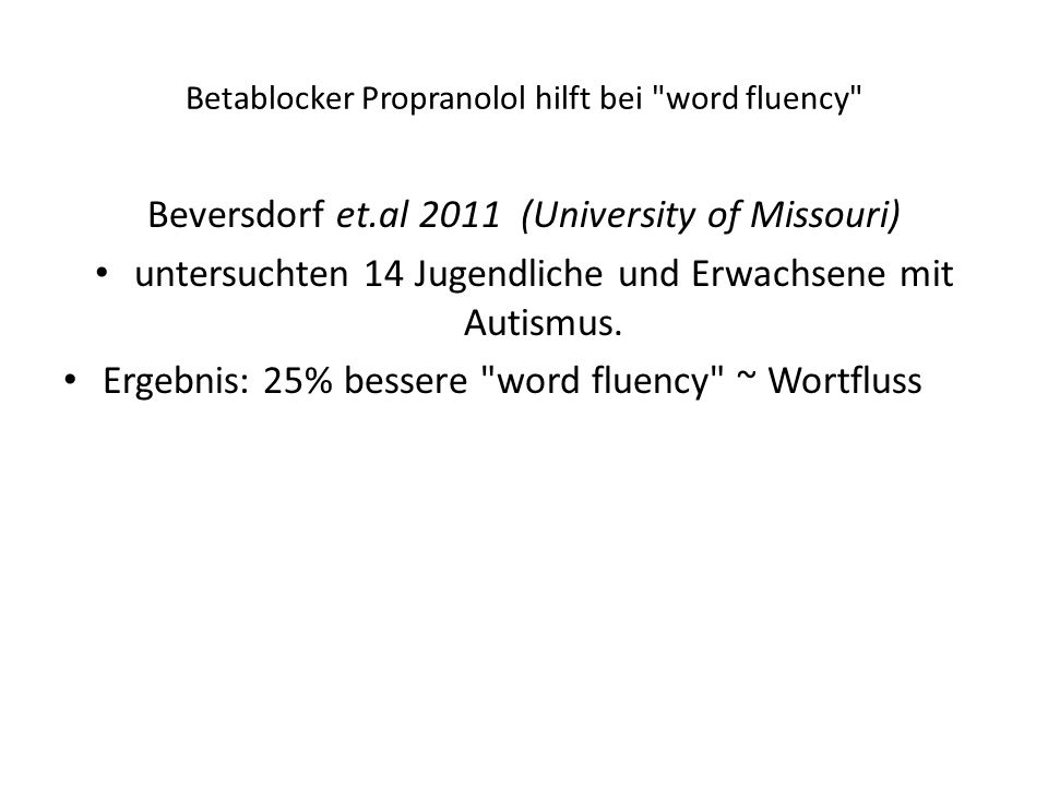 Betablocker Propranolol hilft bei word fluency