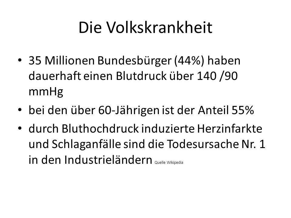 Die Volkskrankheit 35 Millionen Bundesbürger (44%) haben dauerhaft einen Blutdruck über 140 /90 mmHg.