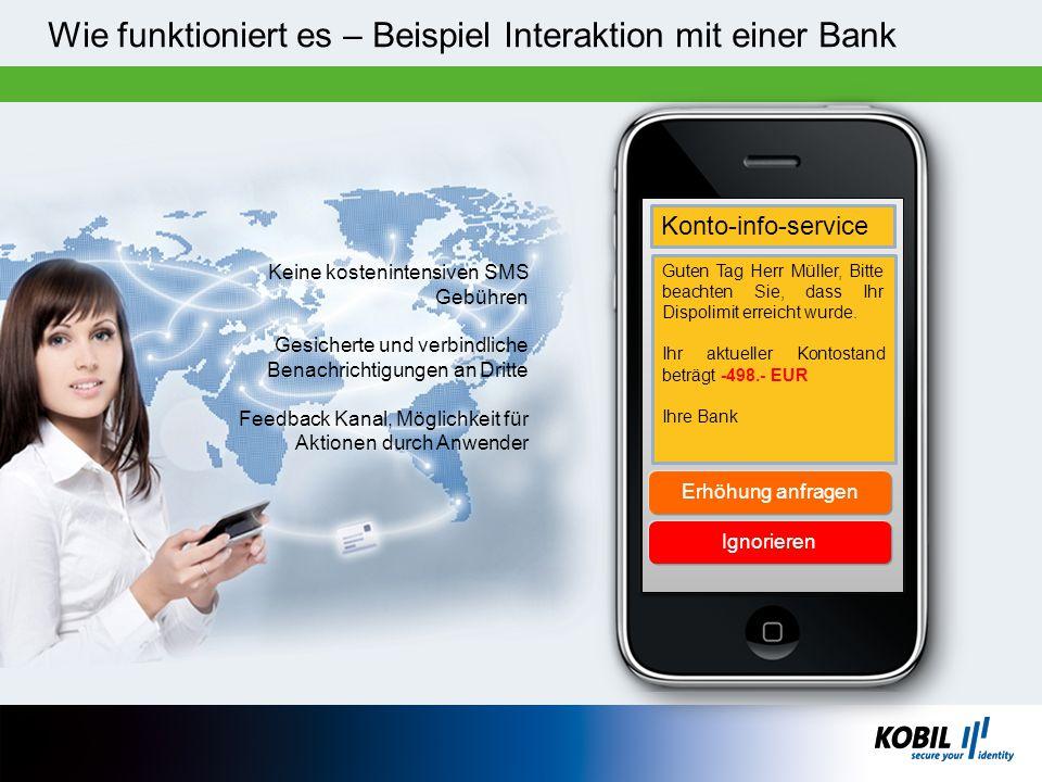 ********** Wie funktioniert es – Beispiel Interaktion mit einer Bank