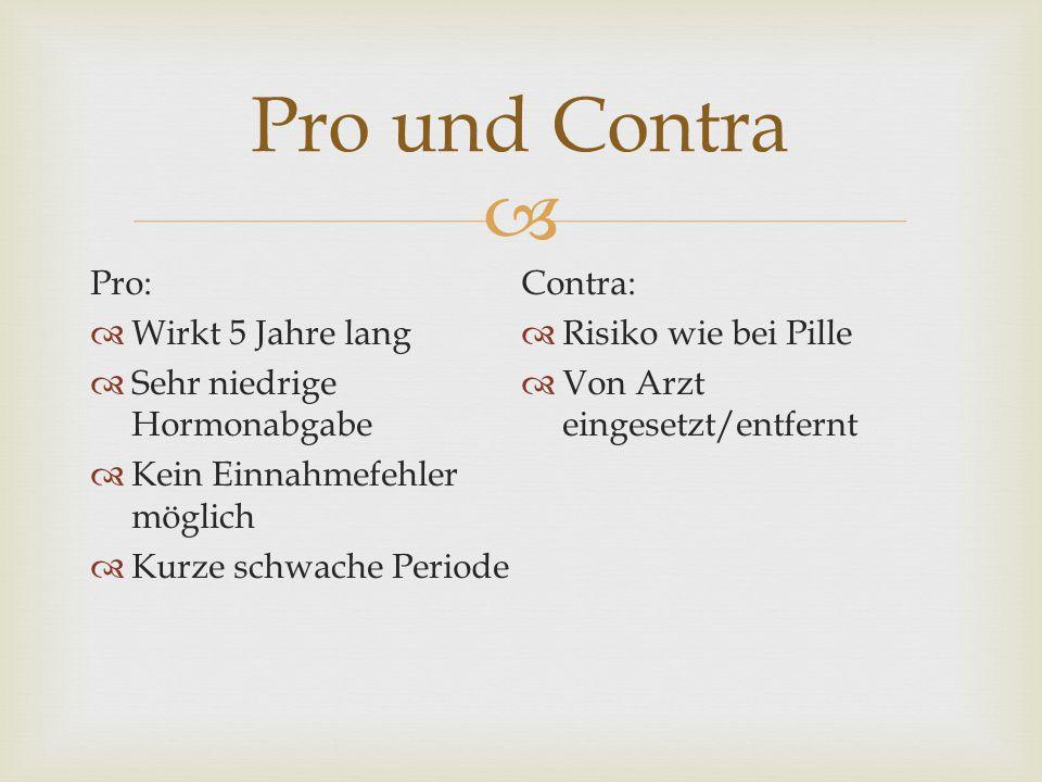 Pro und Contra Pro: Contra: Wirkt 5 Jahre lang Risiko wie bei Pille