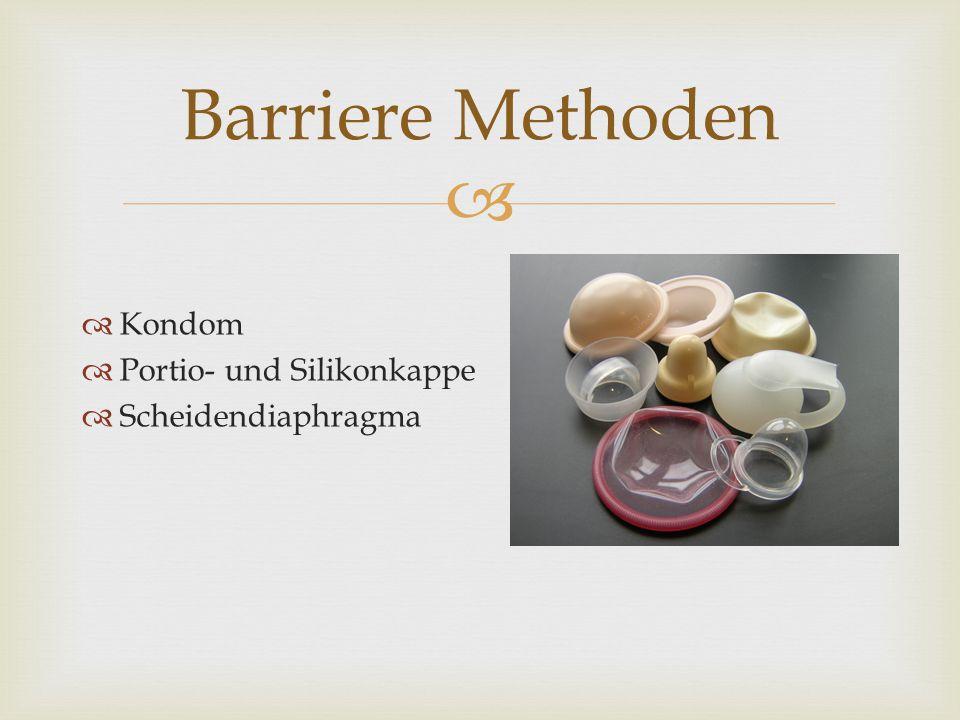 Barriere Methoden Kondom Portio- und Silikonkappe Scheidendiaphragma