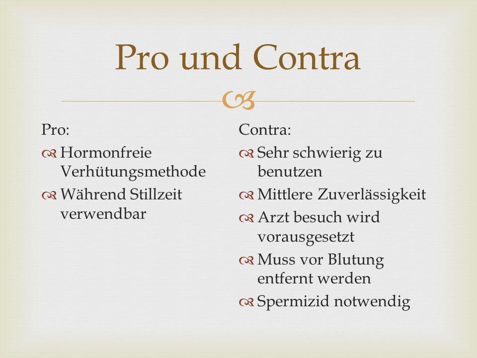 Pro und Contra Pro: Contra: Hormonfreie Verhütungsmethode
