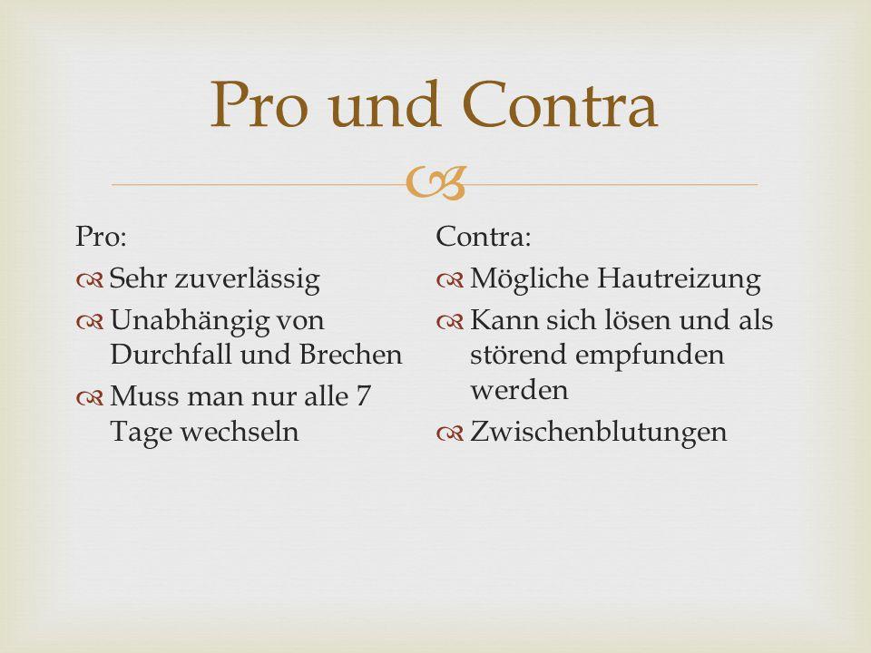 Pro und Contra Pro: Contra: Sehr zuverlässig Mögliche Hautreizung