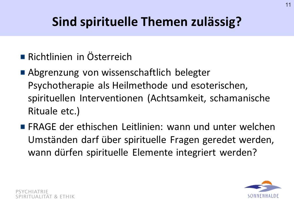 Sind spirituelle Themen zulässig