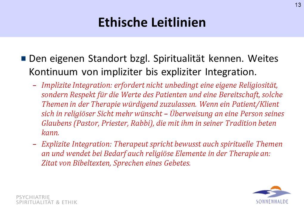 Ethische Leitlinien Den eigenen Standort bzgl. Spiritualität kennen. Weites Kontinuum von impliziter bis expliziter Integration.