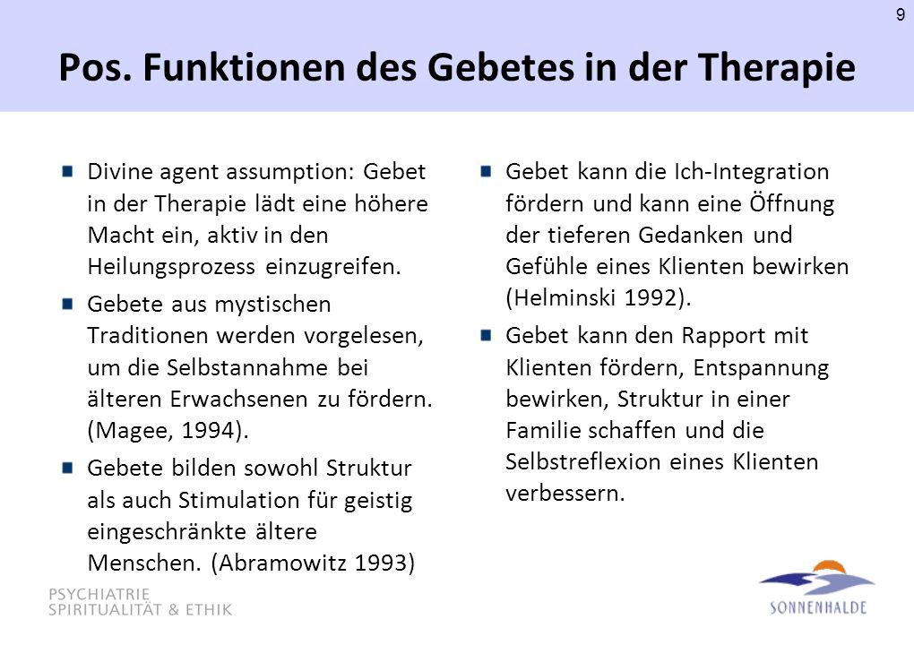 Pos. Funktionen des Gebetes in der Therapie