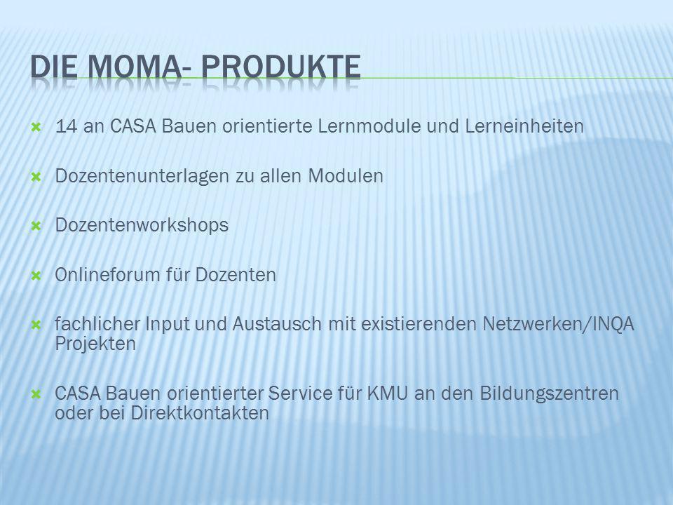 4/8/2017 Die MoMA- produkte. 14 an CASA Bauen orientierte Lernmodule und Lerneinheiten. Dozentenunterlagen zu allen Modulen.