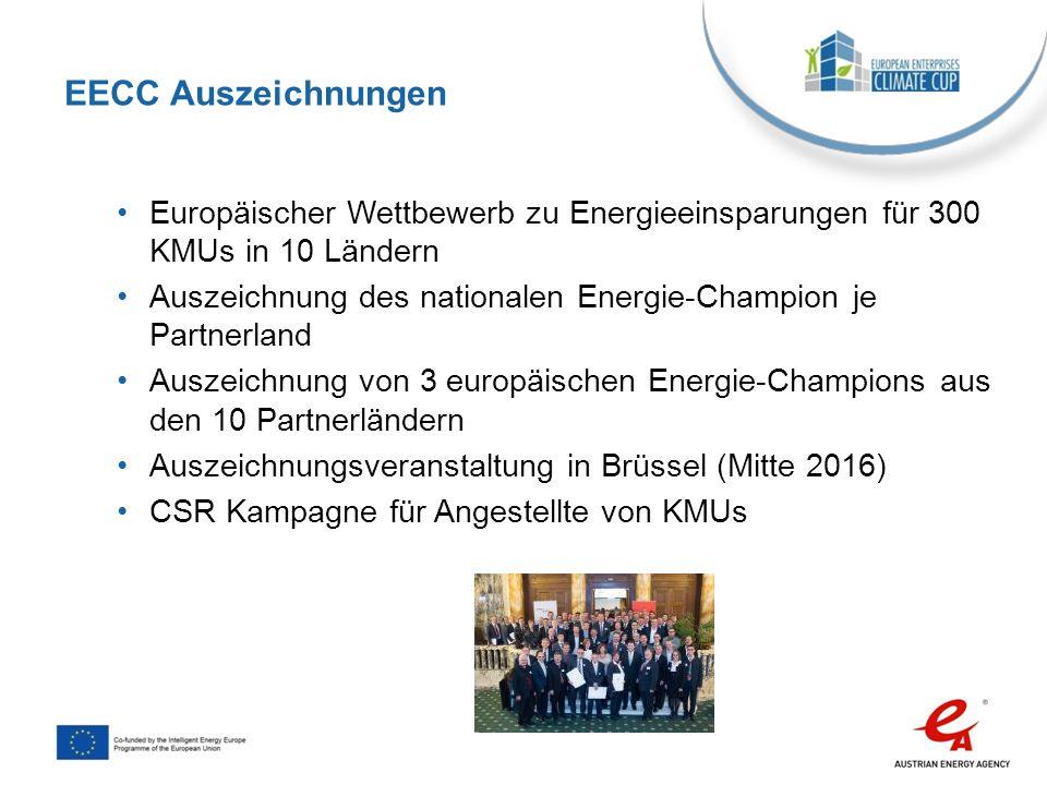 EECC Auszeichnungen Europäischer Wettbewerb zu Energieeinsparungen für 300 KMUs in 10 Ländern.