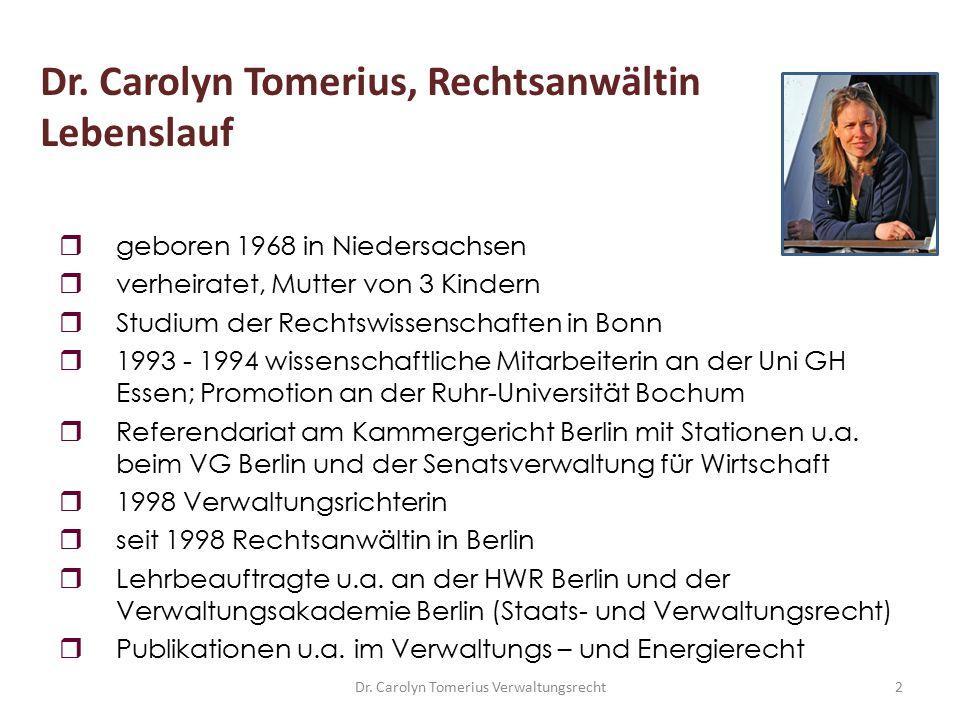 Dr. Carolyn Tomerius Verwaltungsrecht