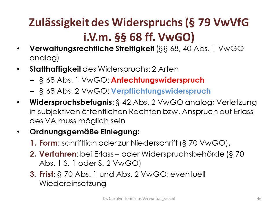 Zulässigkeit des Widerspruchs (§ 79 VwVfG i.V.m. §§ 68 ff. VwGO)