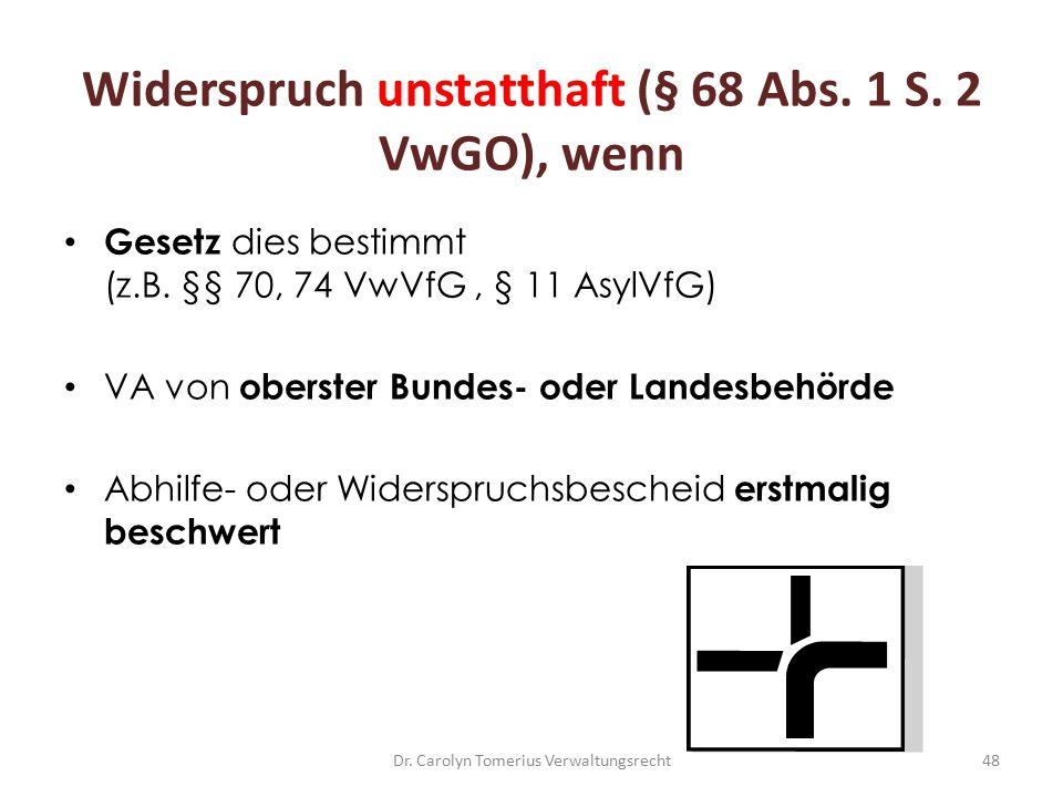 Widerspruch unstatthaft (§ 68 Abs. 1 S. 2 VwGO), wenn