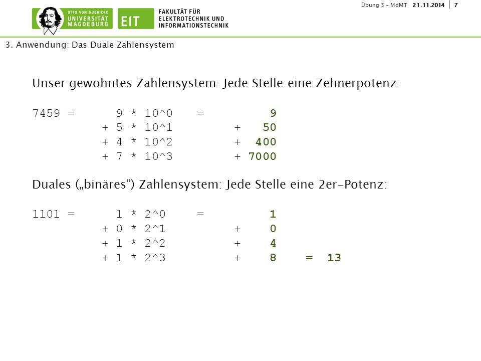3. Anwendung: Das Duale Zahlensystem