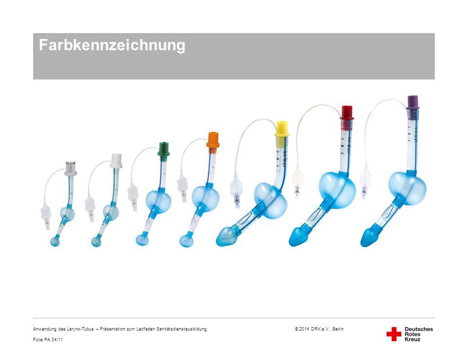 Farbkennzeichnung Anwendung des Larynx-Tubus – Präsentation zum Leitfaden Sanitätsdienstausbildung