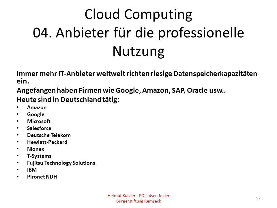 Cloud Computing 04. Anbieter für die professionelle Nutzung