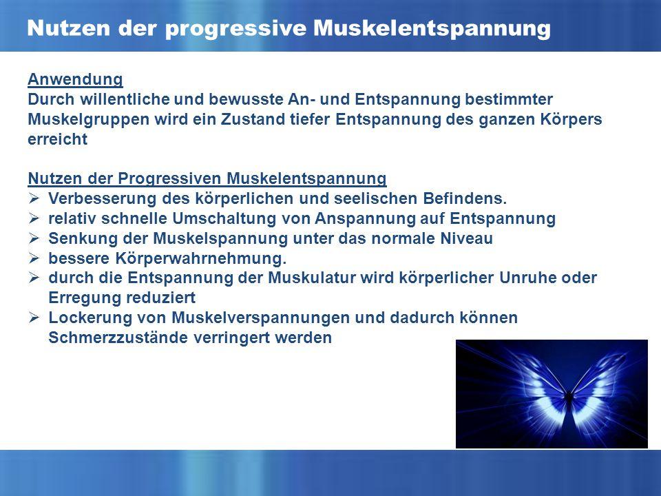 Nutzen der progressive Muskelentspannung