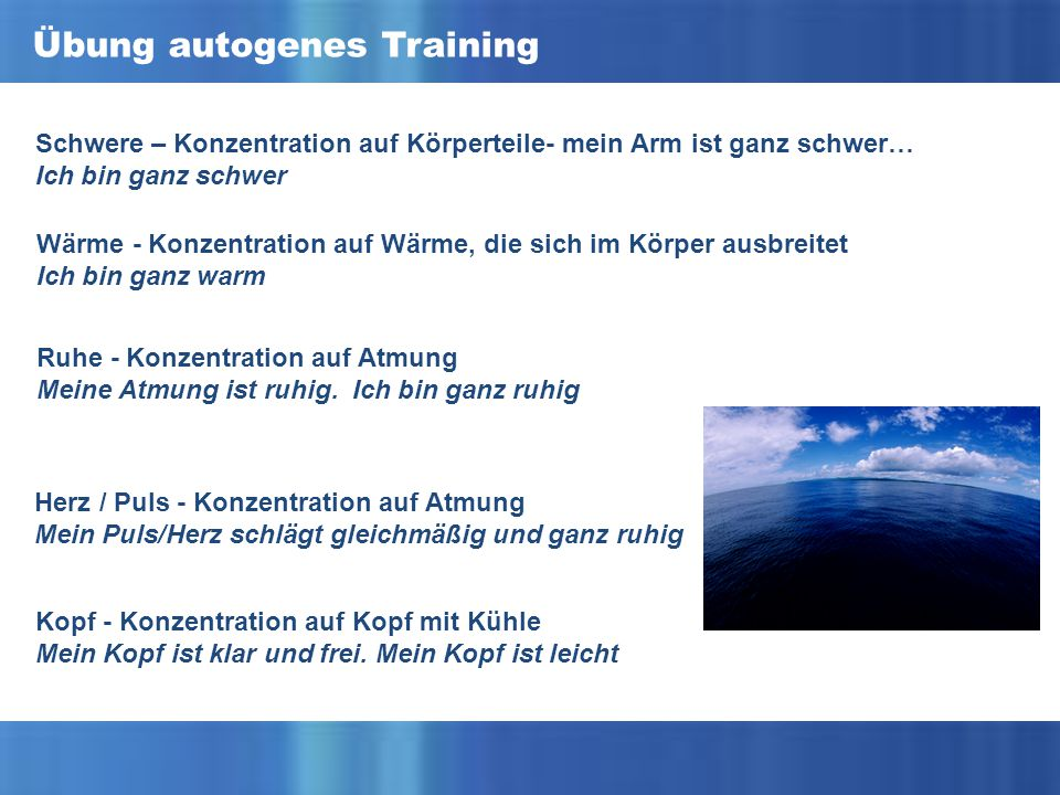 Übung autogenes Training