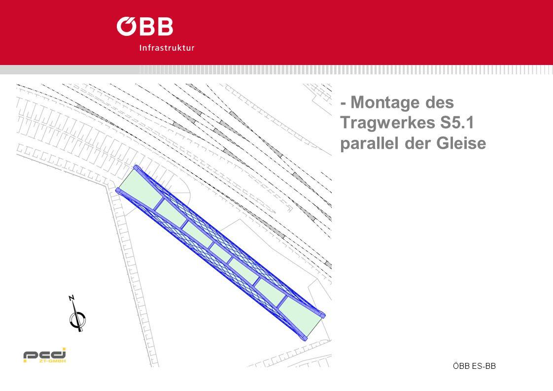 - Montage des Tragwerkes S5.1 parallel der Gleise