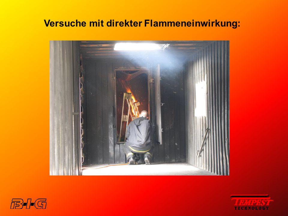 Versuche mit direkter Flammeneinwirkung: