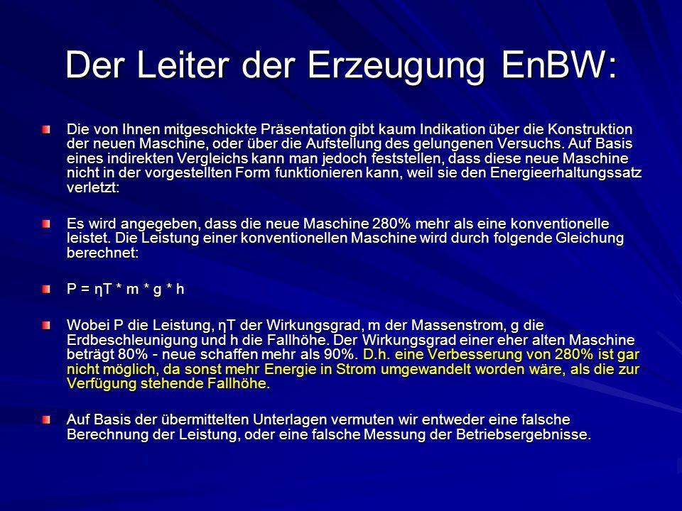 Der Leiter der Erzeugung EnBW: