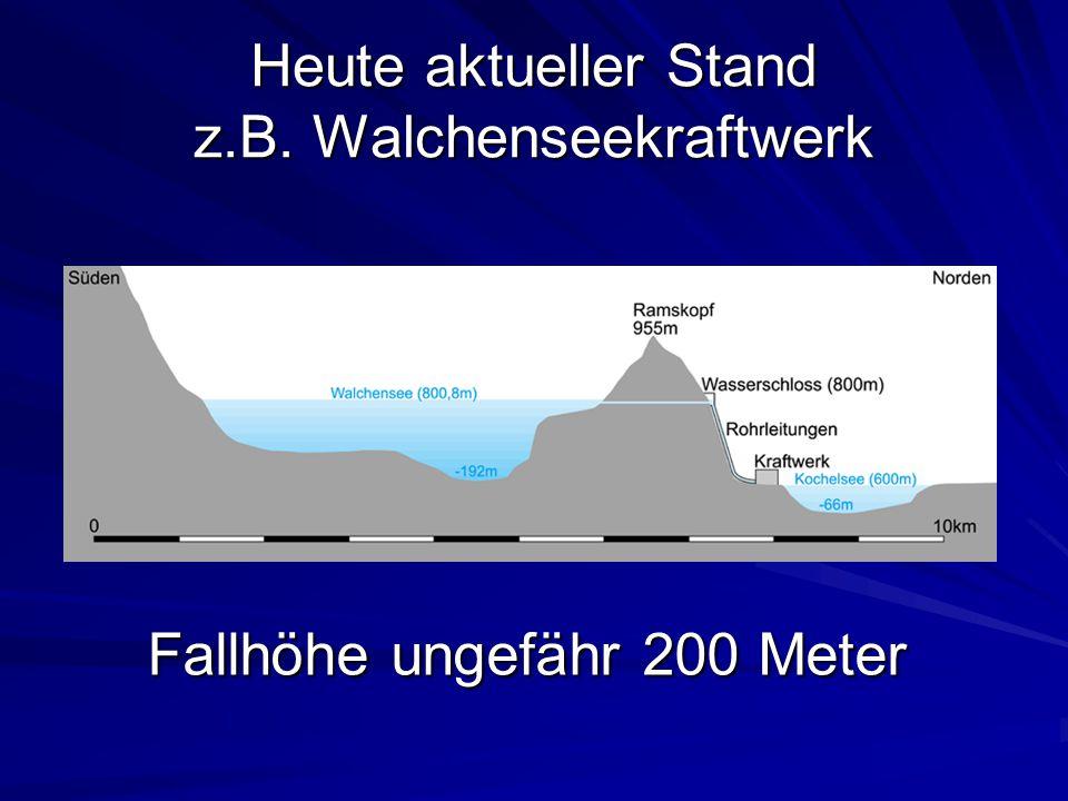 Heute aktueller Stand z.B. Walchenseekraftwerk