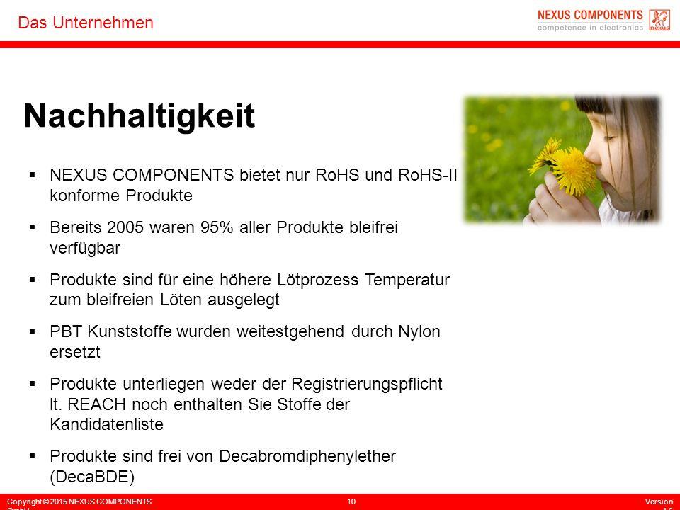 Nachhaltigkeit NEXUS COMPONENTS bietet nur RoHS und RoHS-II konforme Produkte. Bereits 2005 waren 95% aller Produkte bleifrei verfügbar.