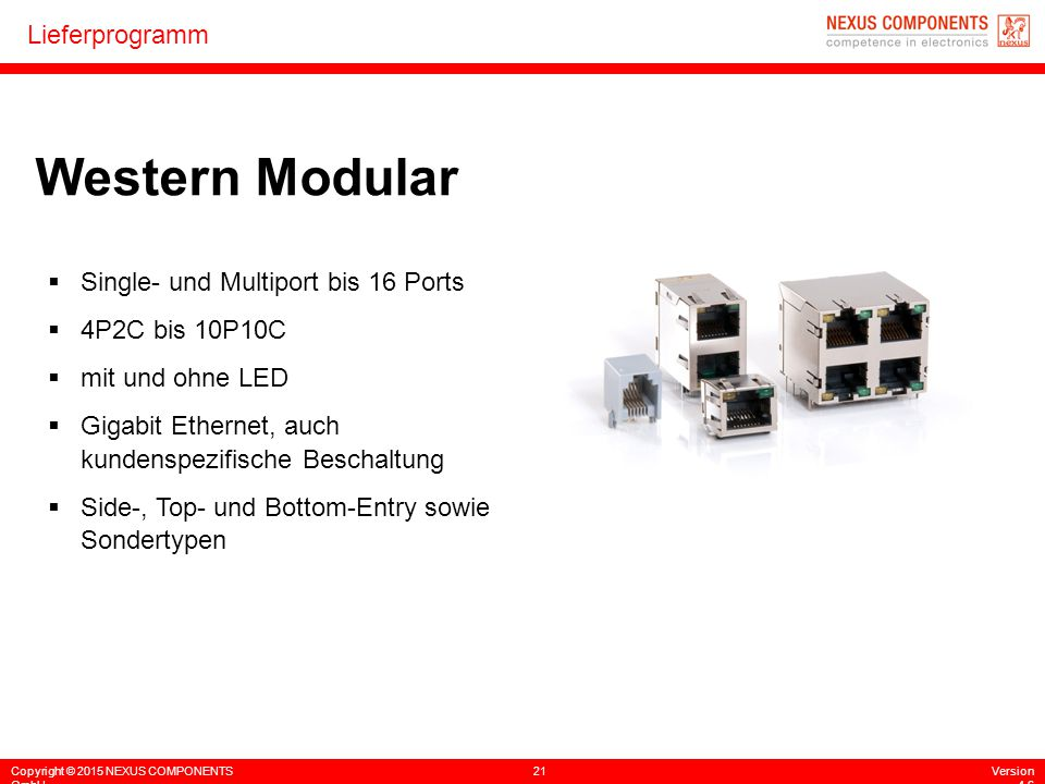 Western Modular Single- und Multiport bis 16 Ports 4P2C bis 10P10C