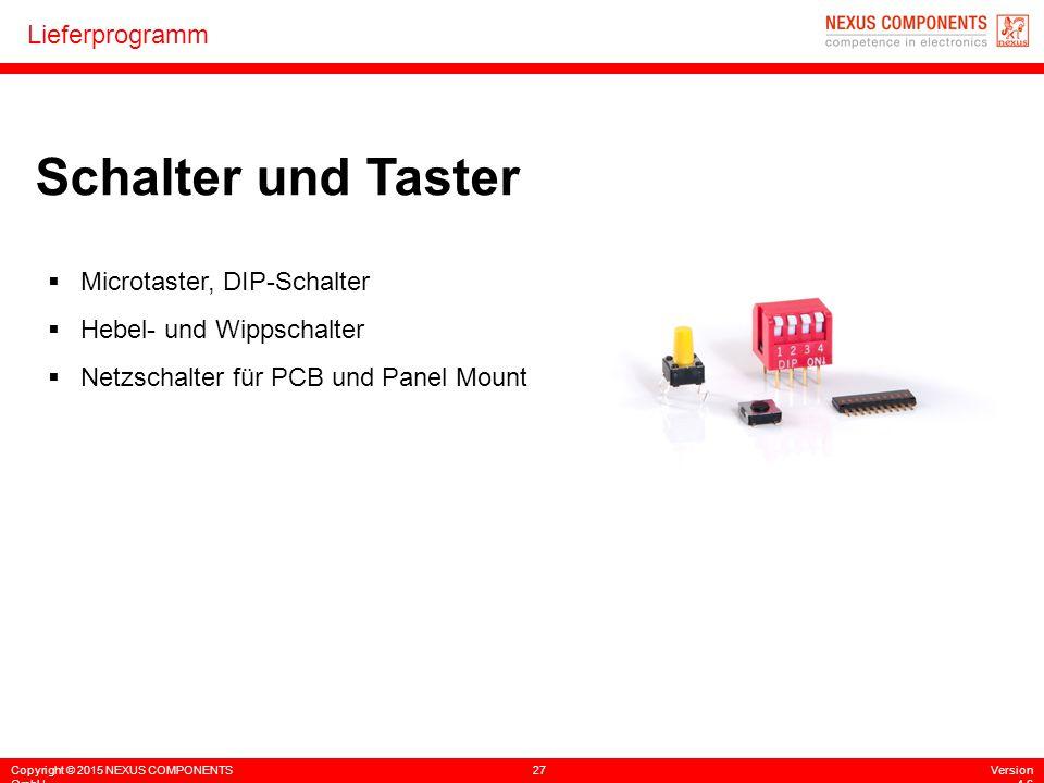 Schalter und Taster Microtaster, DIP-Schalter Hebel- und Wippschalter