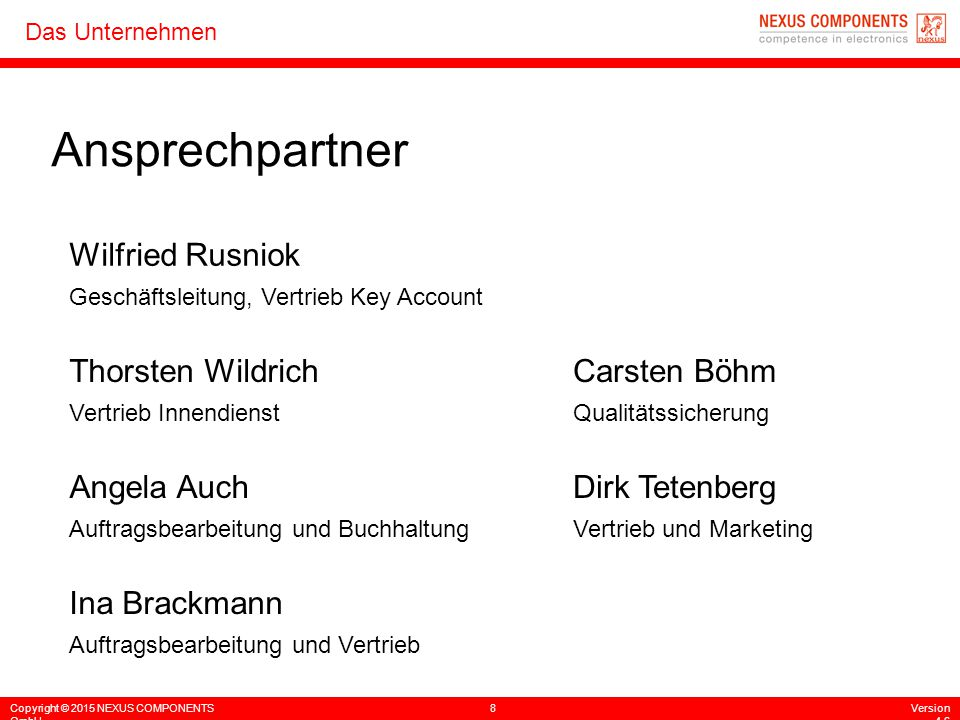 Ansprechpartner Wilfried Rusniok Thorsten Wildrich Carsten Böhm