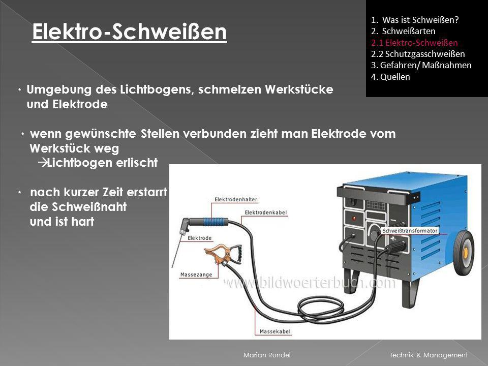 1. Was ist Schweißen 2. Schweißarten. 2.1 Elektro-Schweißen. 2.2 Schutzgasschweißen. 3. Gefahren/ Maßnahmen.