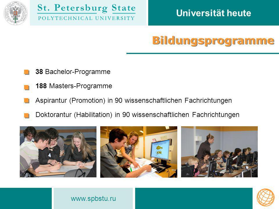 Bildungsprogramme Universität heute 38 Bachelor-Programme