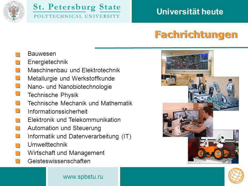 Fachrichtungen Universität heute Bauwesen Energietechnik