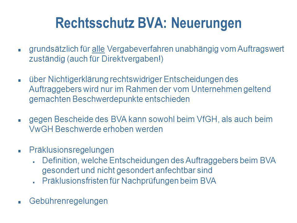 Rechtsschutz BVA: Neuerungen