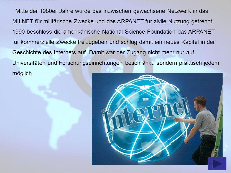 Mitte der 1980er Jahre wurde das inzwischen gewachsene Netzwerk in das MILNET für militärische Zwecke und das ARPANET für zivile Nutzung getrennt.