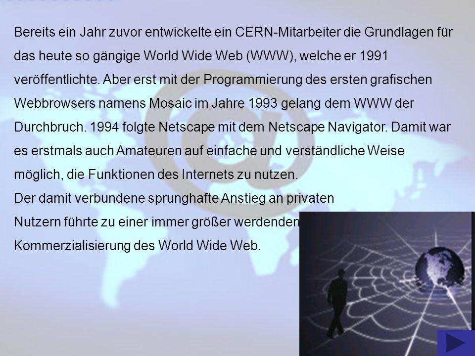 Bereits ein Jahr zuvor entwickelte ein CERN-Mitarbeiter die Grundlagen für das heute so gängige World Wide Web (WWW), welche er 1991 veröffentlichte. Aber erst mit der Programmierung des ersten grafischen Webbrowsers namens Mosaic im Jahre 1993 gelang dem WWW der Durchbruch. 1994 folgte Netscape mit dem Netscape Navigator. Damit war es erstmals auch Amateuren auf einfache und verständliche Weise möglich, die Funktionen des Internets zu nutzen.